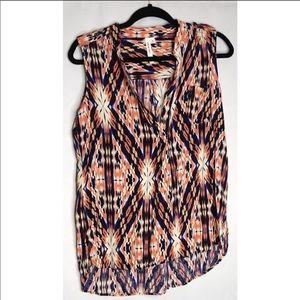 Como vintage bright print sleeveless tank blouse L